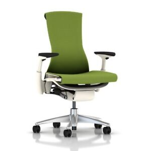 Embody Chair Adjustable Arms Green Apple Balance white Frame titanium Base