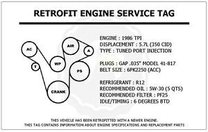 1986 Tpi 5 7l Corvette Retrofit Engine Service Tag Belt Routing Diagram Decal