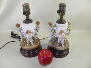 Antique Pair Of Dresden Figural Cherub Flowers Kero Electrified Lamps