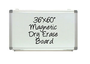 Dry Erase Board Aluminum Framed White Magnetic Signboard 36 X 60 Pen Tray