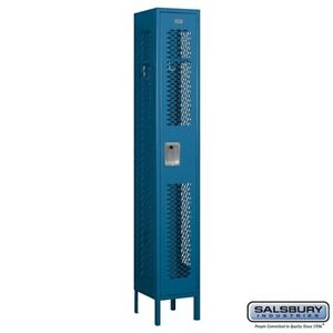 Salsbury Vented Metal Locker Single Tier 1 Wide 6 High 12 Deep Blue 71162bl u
