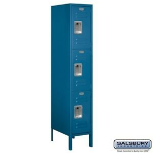 Standard Metal Locker Triple Tier 1 Wide 5 High 18 Deep Blue 63158bl u New