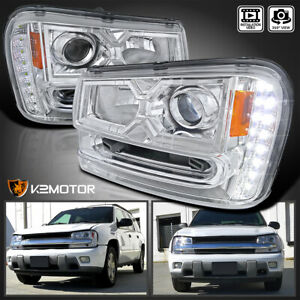 For 2002 2009 Chevy Trailblazer Led Strip Projector Headlights Lamps L R 02 09