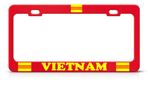 South Vietnam Metal Red Heavy Country Pride License Plate Frame Tag Holder