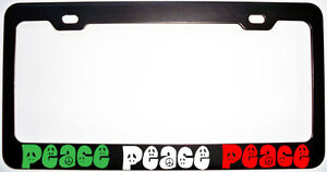 Peace Sign Italy Italian Metal Black License Plate Frame New