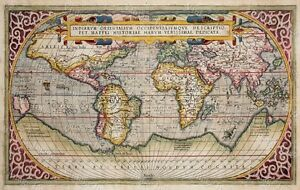 Large Historic 1589 World Map Old Antique Style Wall Map Fine Art Print Poster