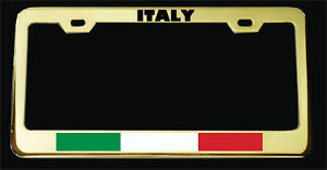 Italy Italian Flag Gold Plated Heavy Duty License Plate Frame New Tag Holder