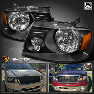 2004 2008 Ford F150 Truck 06 08 Lincoln Mark Lt Crystal Black Headlights Pair