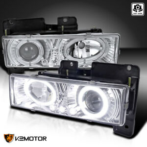 88 98 Chevy Gmc C10 C k Tahoe Blazer Halo led Projector Headlights Left right