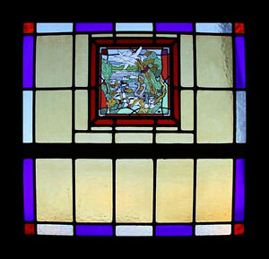 Spectacular Art Deco Ducks Geese Stained Glass Window Fairyland Theme