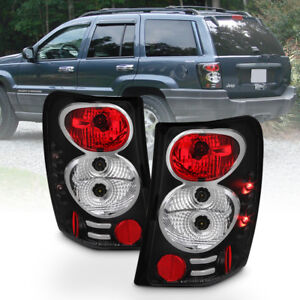 Black 1999 2004 Jeep Grand Cherokee Tail Lights Brake Lamps W Led Side Marker