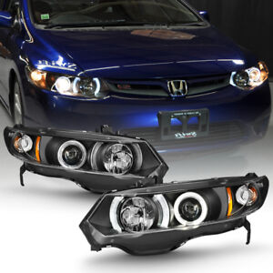 For Blk 2006 2011 Honda Civic 2dr Coupe Led Halo Projector Headlights Headlamps