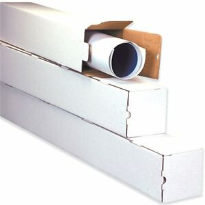 3x3x25 White Box Corrugated Square Mailing Tube Shipping Storage 50 Tubes
