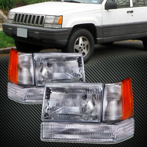 Headlights 6pc Set Left Right Pair Fits 93 1996 Jeep Grand Cherokee