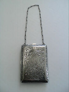 Antique Sterling Silver Ladies Dance Coin Purse With Compact 104 Grams