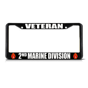 Veteran 2nd Marine Division Black Metal Heavy License Plate Frame Tag Border
