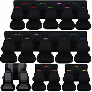 1987 2006 Jeep Wrangler Seat Covers W Design Front Rear choose Your Color