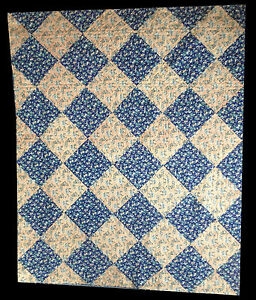 Antique 1830 1840 Blue And Tan Quilt