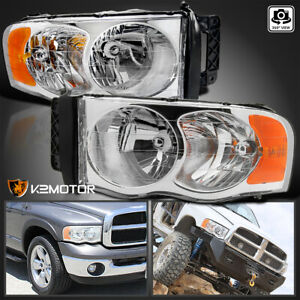 2002 2005 Dodge Ram 1500 2500 3500 Crystal Clear Replacement Headlights Pair