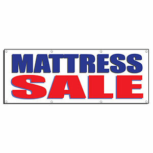 Mattress Sale Blue Red Promotion Business Sign Banner 4 X 2 W 4 Grommets