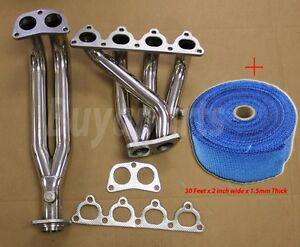 Civic crx del Sol Sohc D series 4 2 1 Stainless Racing Header Blue Heat Wrap