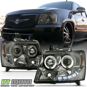 Smoked Tint Lens 07 14 Suburban Tahoe Avalanche Halo Projector Led Headlights