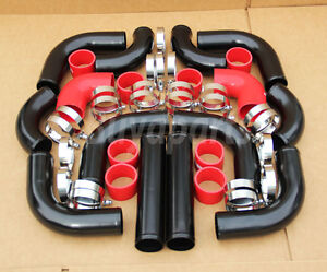 12pcs Turbo Intercooler Black Piping Red Couplers Kit Crx Del Sol D16 B16 B18