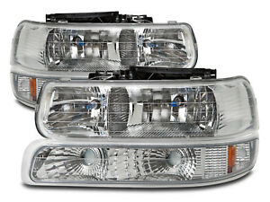 Xenon Headlights Set 4pc Set Fits 99 02 Chevrolet Silverado 00 06 Tahoe suburban