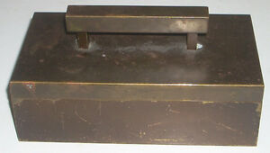 Vintage Brass Art Deco Patiniated Cedar Lined Box Cigarettes Jewelry Trinket