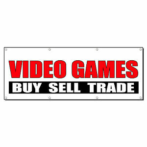 Video Games Buy Sell Trade Promotion Business Sign Banner 2 X 4 W 4 Grommets