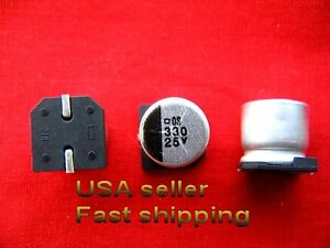 12 Pcs 330uf 25v Smd 85c Electrolytic Capacitors