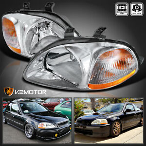 For 1996 1998 Honda Civic Ek Dx Lx Ex Clear Headlights Lamps Left Right Pair