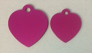 100 Hot Pink Heart Pet Blank Identification Tags Anodized Aluminum Wholesale
