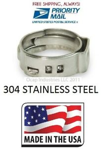 500 3 4 Pex 304 Stainless Steel Clamps Cinch Pinch Rings Pex34 Made In Usa