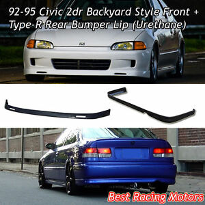 Bys Style Front Lip Tr Style Rear Bumper Lip urethane Fits 92 95 Civic 2dr