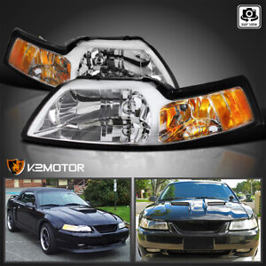 Fits 1999 2004 Ford Mustang Cobra Clear Headlights Lamps Left Right Pair