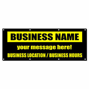 Business Name Business Custom Location Hours Banner Sign 4 x 8 w 8 Grommets