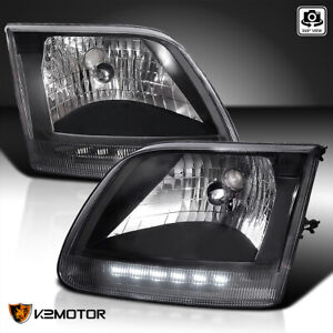 Fit Ford 1997 2003 F150 1997 2002 Expedition Black Led Drl Headlights Left Right