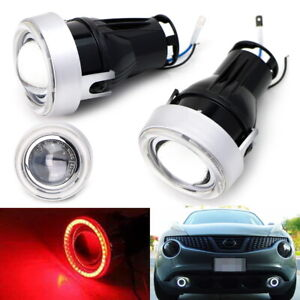 3 Projector Fog Light Lamps W Super Red 40 led Halo Angel Eyes Rings For Car