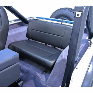 Jeep Wrangler Cj Yj 55 95 Fixed Rear Back Seat Black Denim X 13461 15