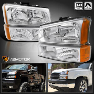 03 07 Silverado Chrome Headlights Clear Bumper Lamps 4pcs