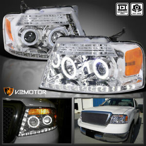 2004 2008 Ford F150 Halo Led Strip Bar Crystal Projector Headlights Pair