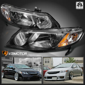 For 2006 2011 Honda Civic Sedan 4dr Replacement Black Headlights Left right Pair