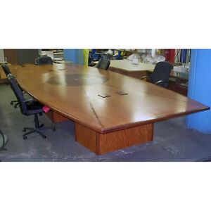 Modern Style 18 Foot Wood Office Conference Table With Power And Data Ports