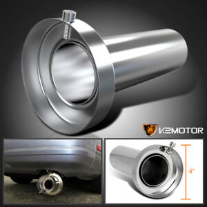 Removable Silencer 4 Tip Muffler Exhaust Stainless Steel