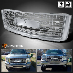 For 2007 2012 Gmc Sierra 1500 Light Duty 1pc Front Honeycomb Mesh Grille Chrome