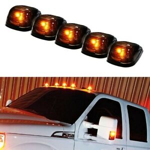 5 Black Smoked Cab Roof Marker Running Lamps W Amber Led Lights For Truck 4x4
