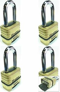 Combination Lock Set Master 1175lh lot 4 Resettable Long Brass Sealed Carbide
