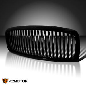 02 05 Dodge Ram Truck Vertical Style Front Hood Grill Grille Black Replacement
