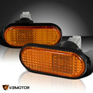 Jdm Flat Amber Fender Side Marker Lights Pair Sir R Eg For 1992 1995 Honda Civic